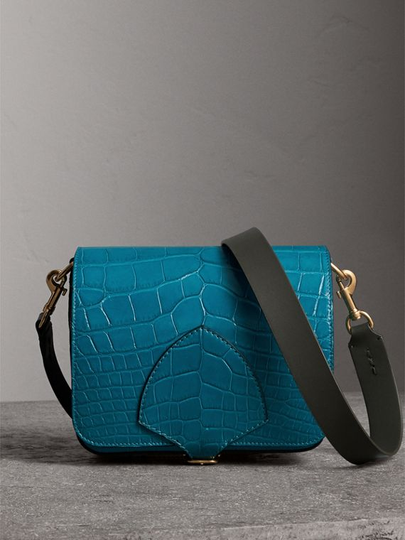 The Square Satchel in Alligator in Dark Teal