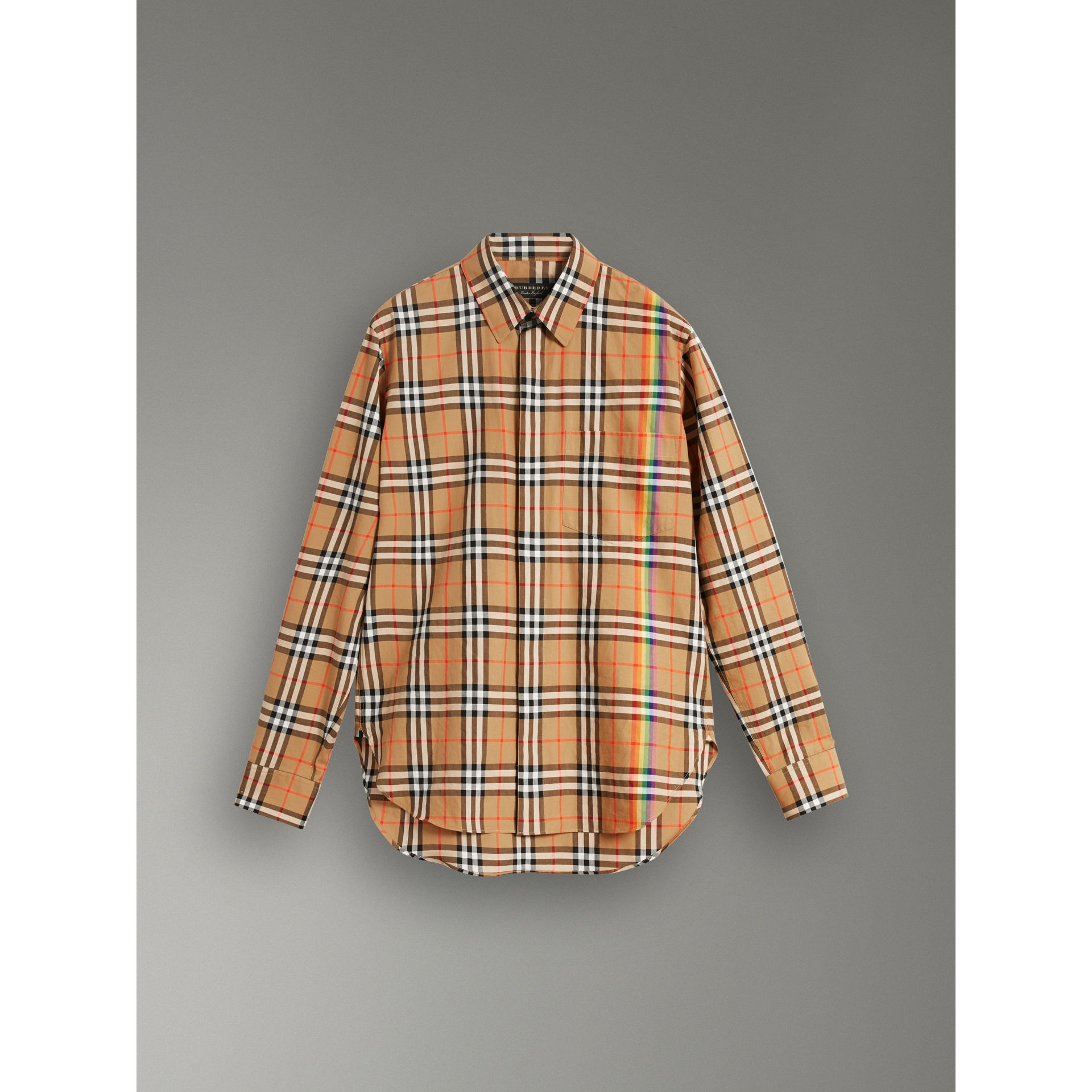 Rainbow Vintage Check Cotton Shirt in Antique Yellow - Women | Burberry Singapore - gallery image 3