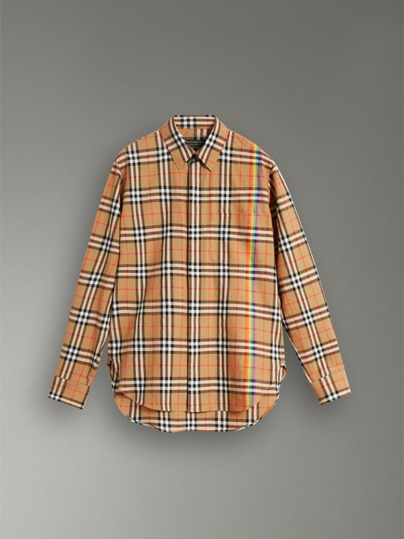 Rainbow Vintage Check Cotton Shirt in Antique Yellow - Women | Burberry United Kingdom - cell image 3