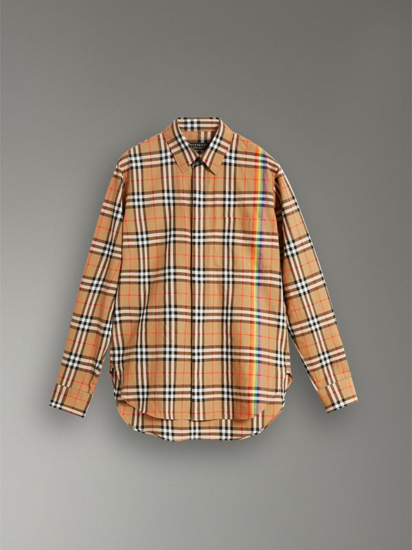 Rainbow Vintage Check Cotton Shirt in Antique Yellow - Women | Burberry Singapore - cell image 3
