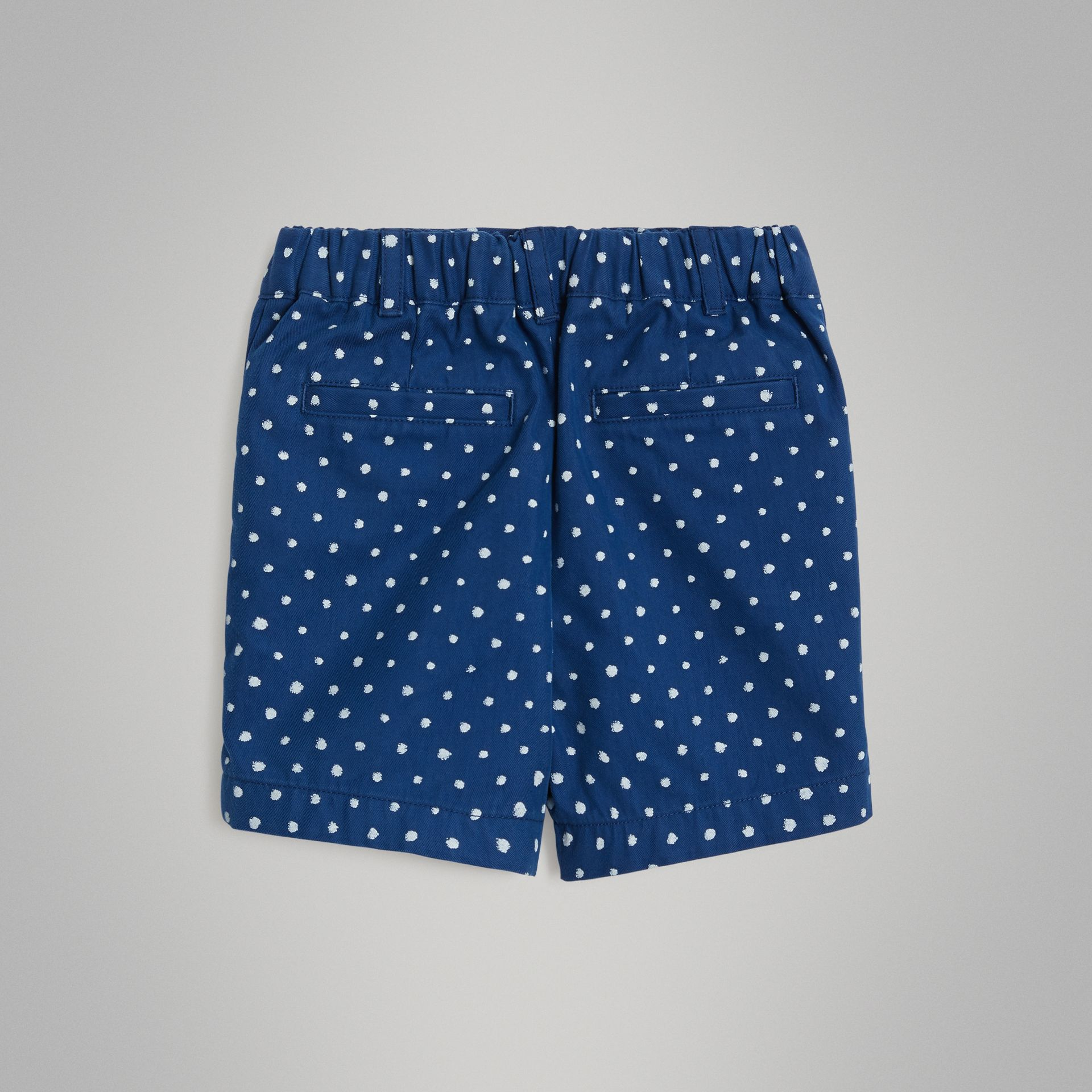 Spot Print Cotton Blend Shorts in Bright Navy - Children | Burberry - gallery image 3