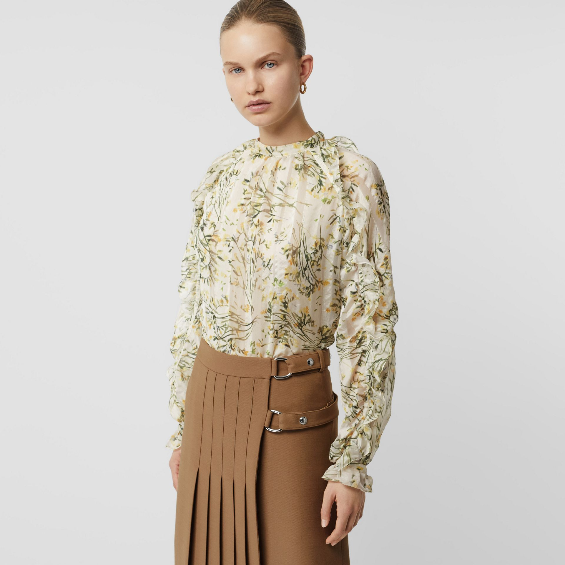 Ruffle Detail Floral Silk Blend Blouse in Lawn Green - Women | Burberry Australia - gallery image 4