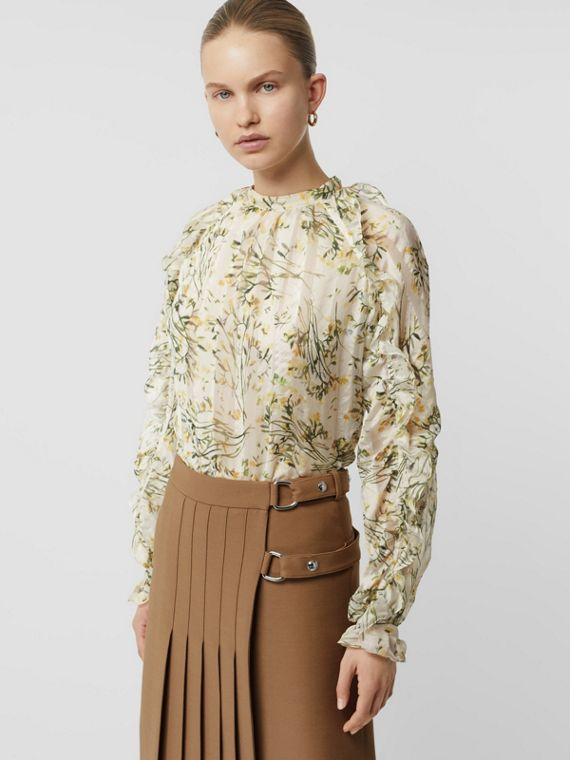 Ruffle Detail Floral Silk Blend Blouse in Lawn Green