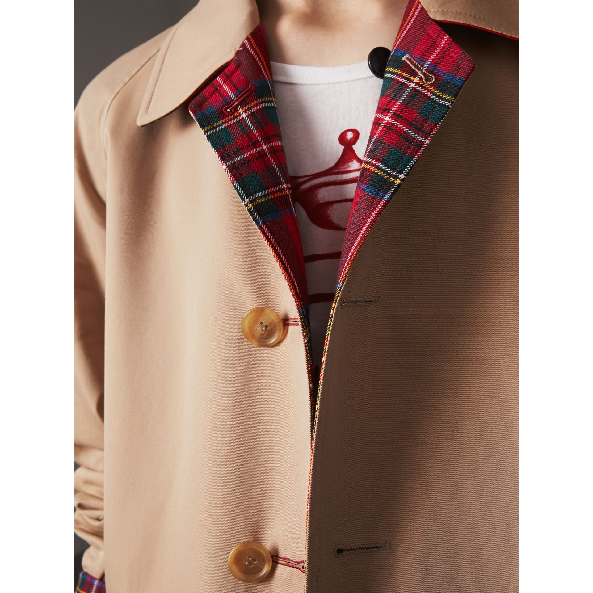 Reversible Gabardine and Tartan Wool Car Coat in Honey/ Red - Men | Burberry - gallery image 6