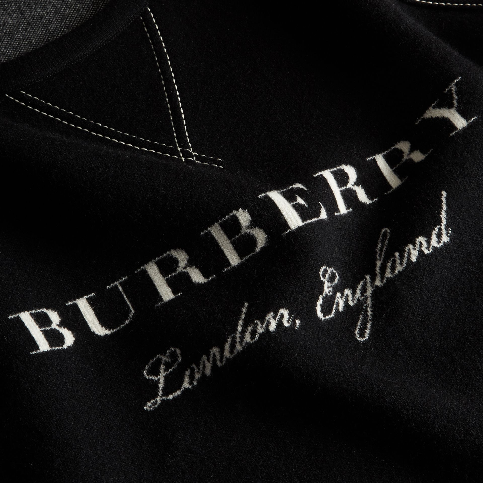 Topstitch Detail Wool Cashmere Blend Sweatshirt in Black - Men | Burberry - gallery image 2