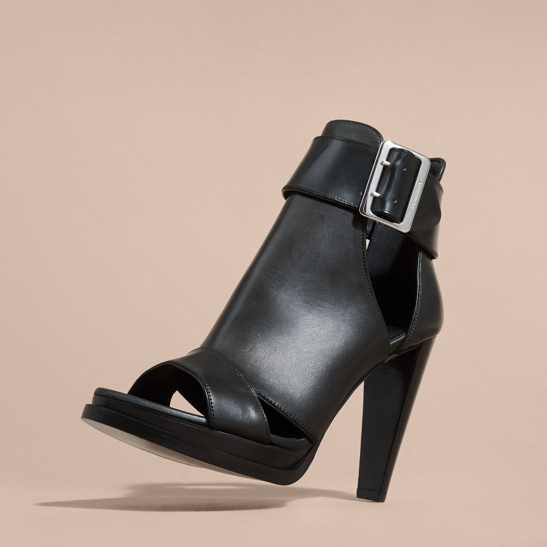 Black Buckle Detail Peep-toe Platform Ankle Boots - gallery image 3