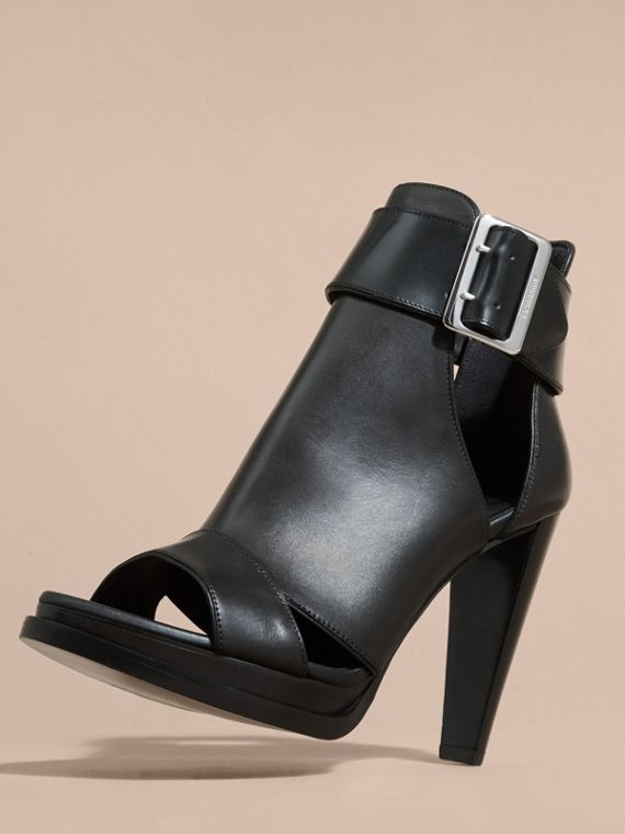 Black Buckle Detail Peep-toe Platform Ankle Boots - cell image 2