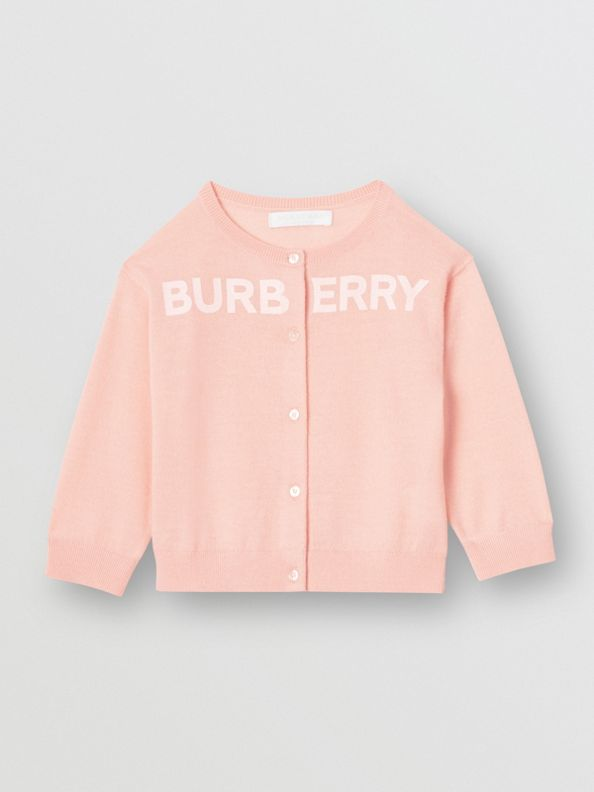 Logo Print Cashmere Two-piece Set in Pale Rose Pink
