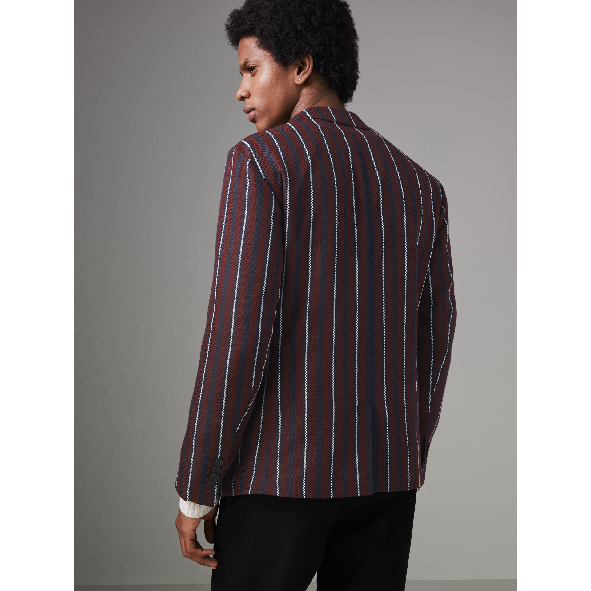 Slim Fit Striped Wool Silk Blazer in Burgundy - Men | Burberry Singapore - gallery image 2