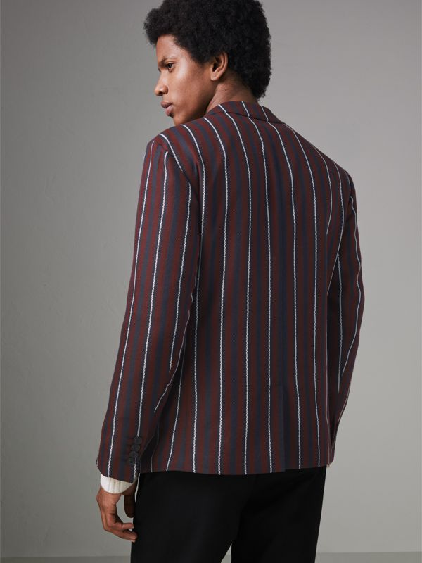 Slim Fit Striped Wool Silk Blazer in Burgundy - Men | Burberry - cell image 2