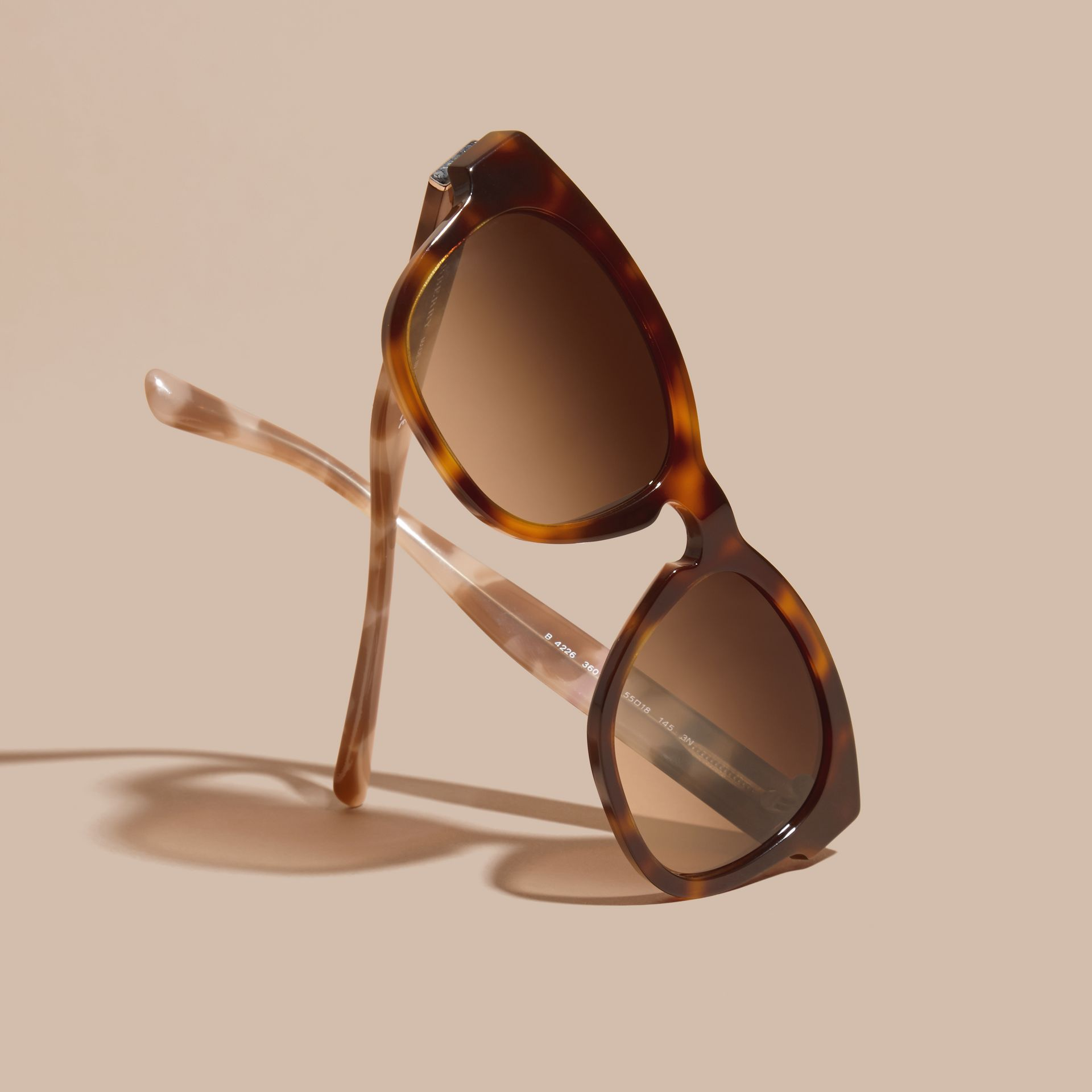 Check and Camouflage Detail Square Frame Sunglasses Light Russet Brown - gallery image 3