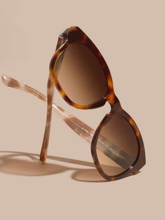 Light russet brown Check and Camouflage Detail Square Frame Sunglasses Light Russet Brown - cell image 2