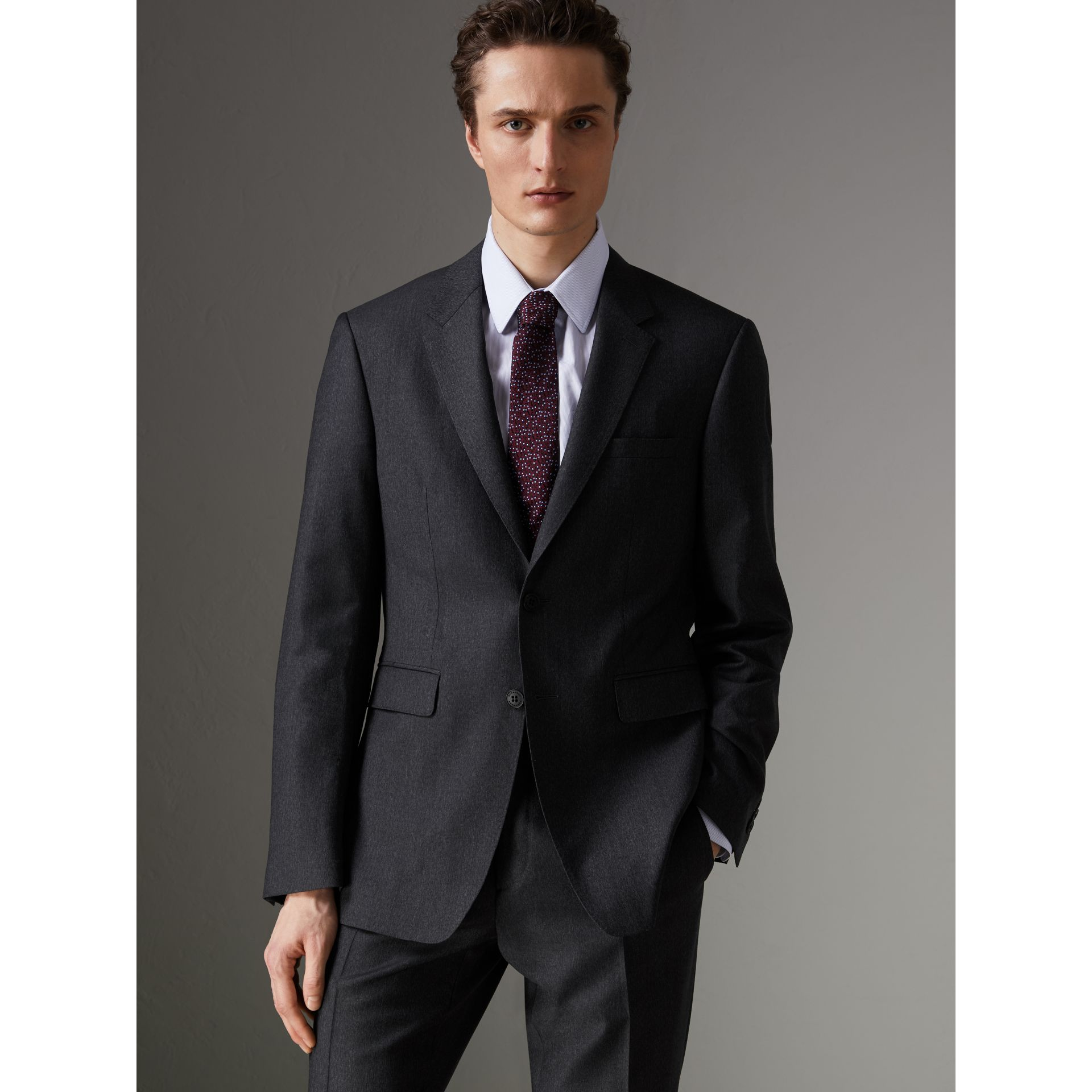 Modern Fit Wool Part-canvas Suit in Charcoal - Men | Burberry - gallery image 4