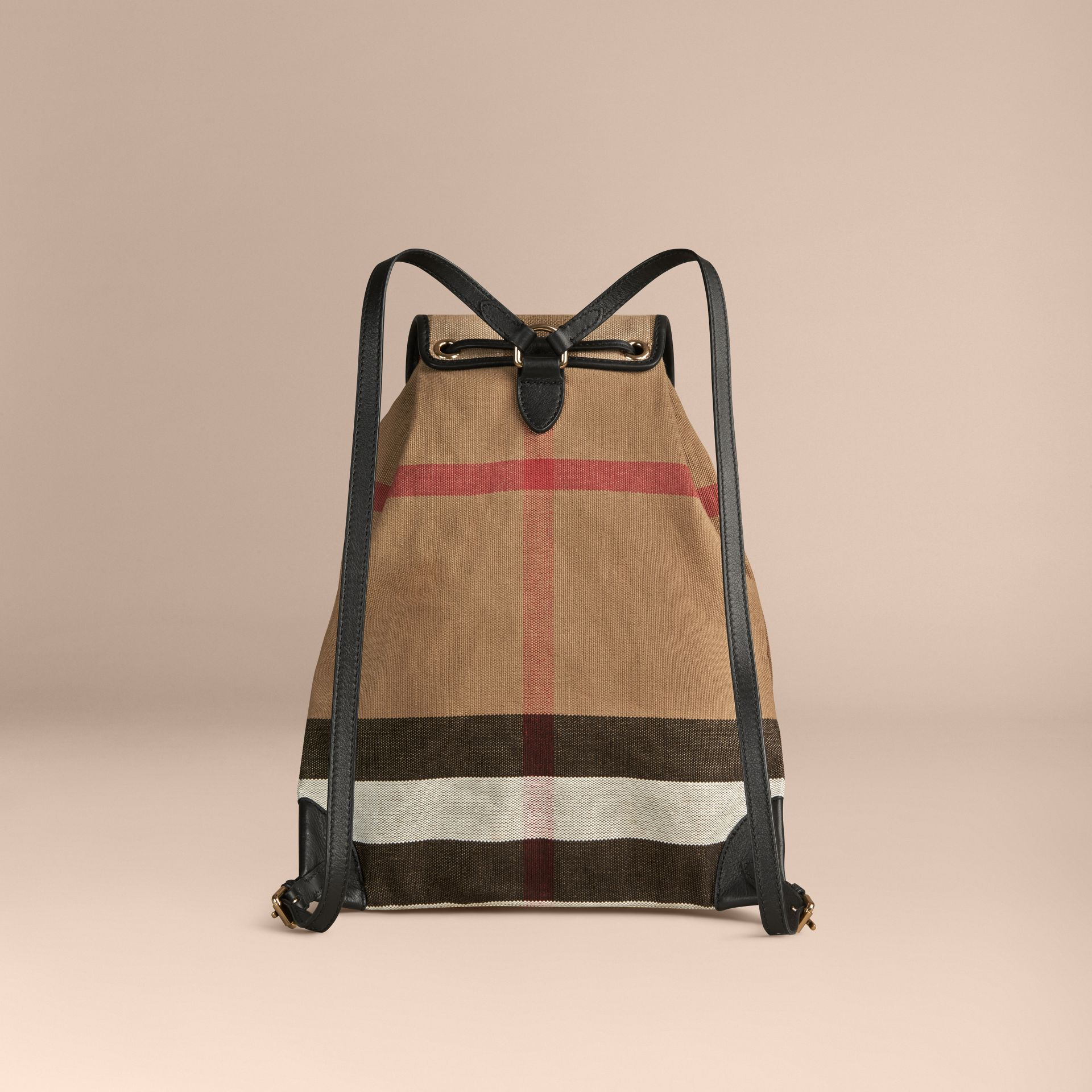 Black Canvas Check Backpack with Leather Trim Black - gallery image 2