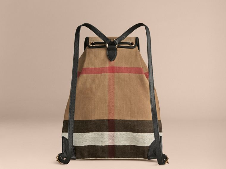 Black Canvas Check Backpack with Leather Trim Black - cell image 1