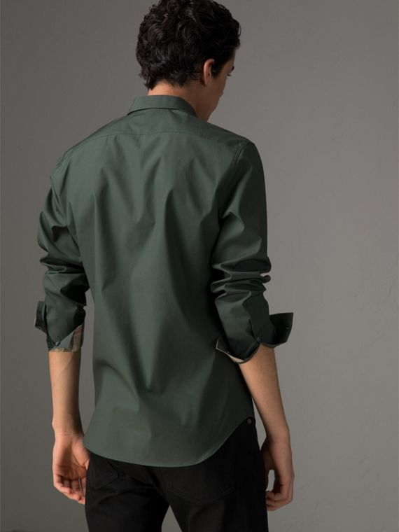 Check Detail Stretch Cotton Poplin Shirt in Dark Forest Green - Men | Burberry - cell image 2