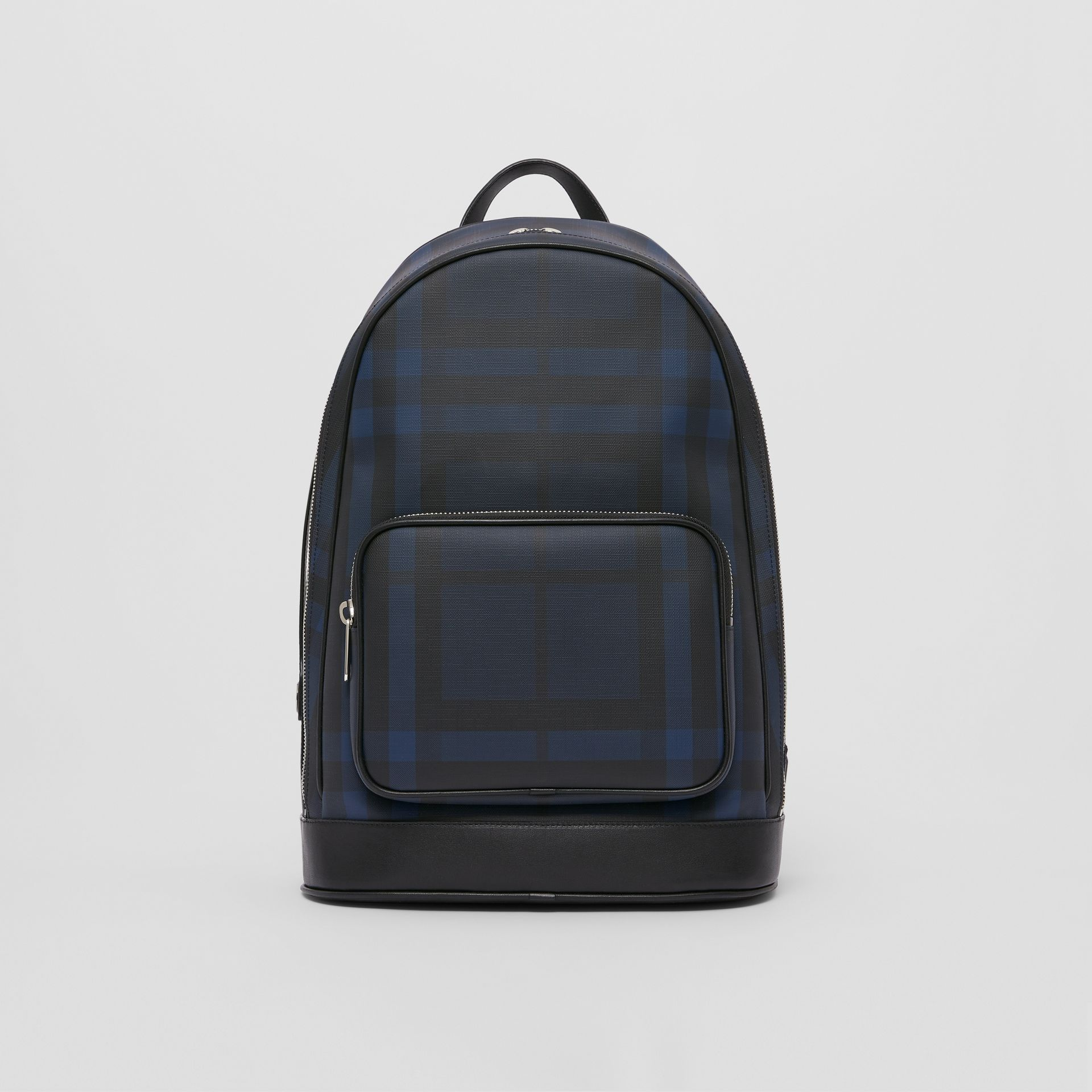 London Check and Leather Backpack in Navy | Burberry United Kingdom - gallery image 0