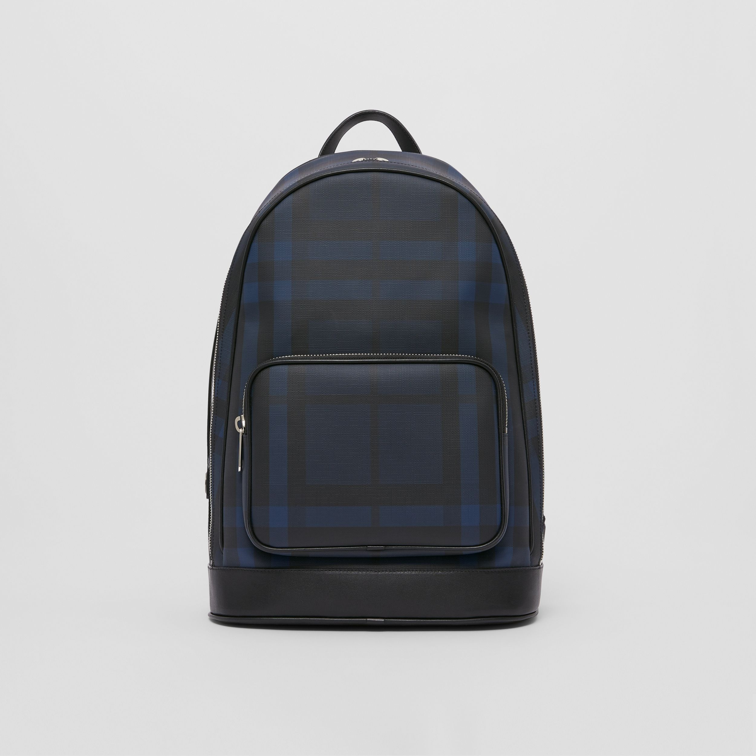 London Check and Leather Backpack in Navy | Burberry - 1