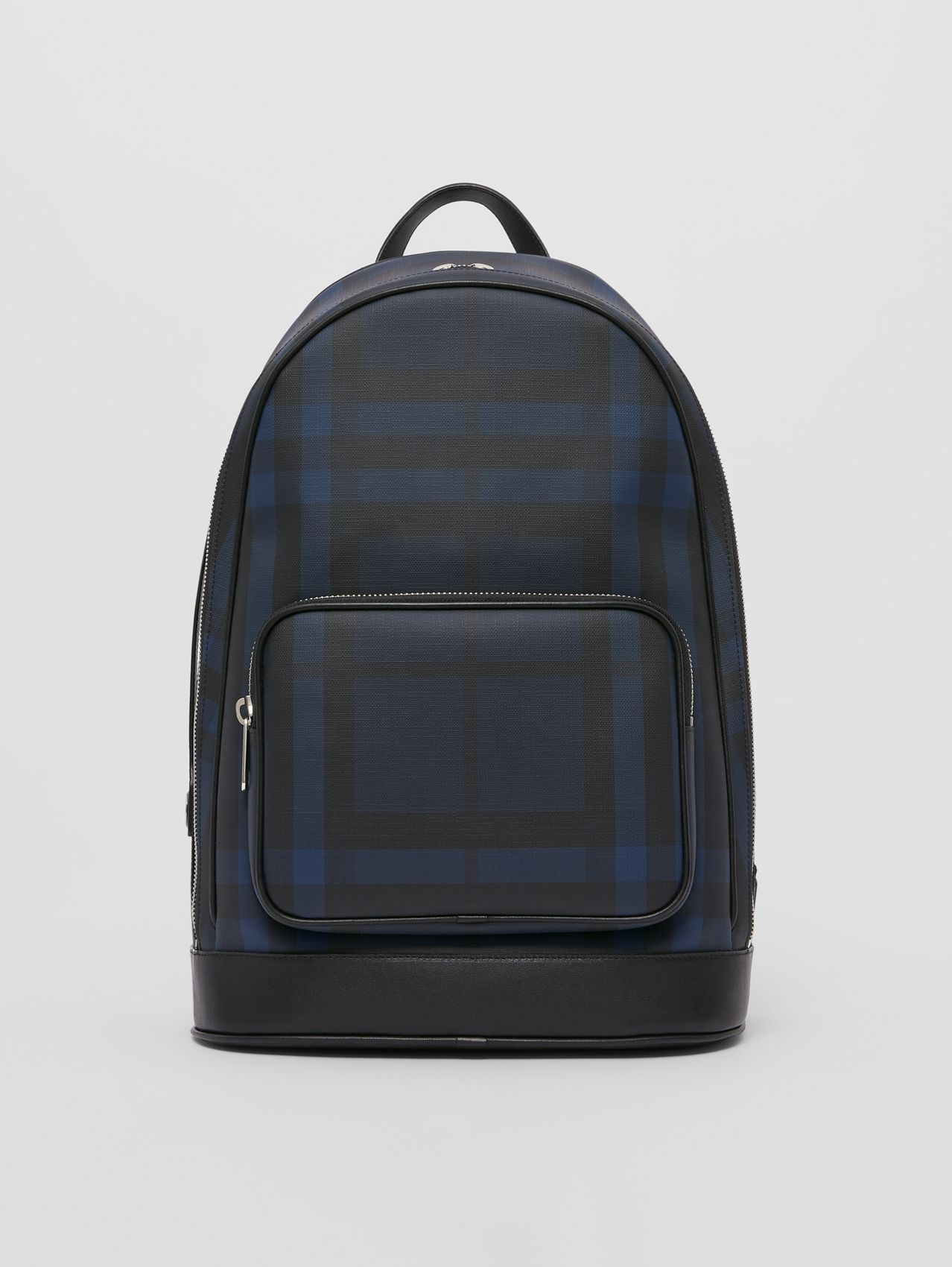 London Check and Leather Backpack in Navy