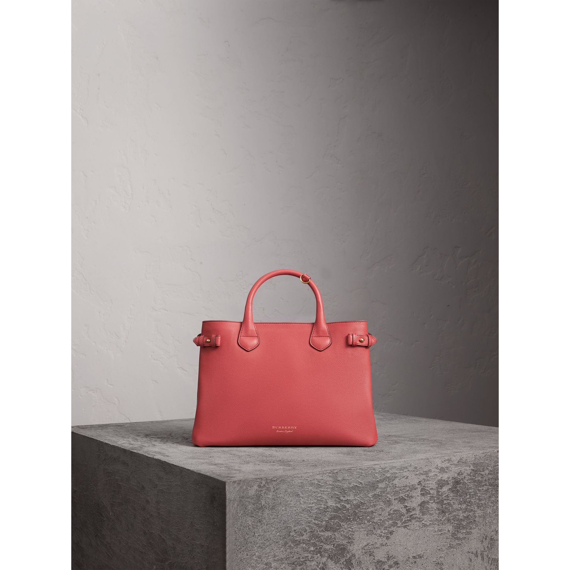 The Medium Banner in Leather and House Check in Cinnamon Red - Women | Burberry Singapore - gallery image 8