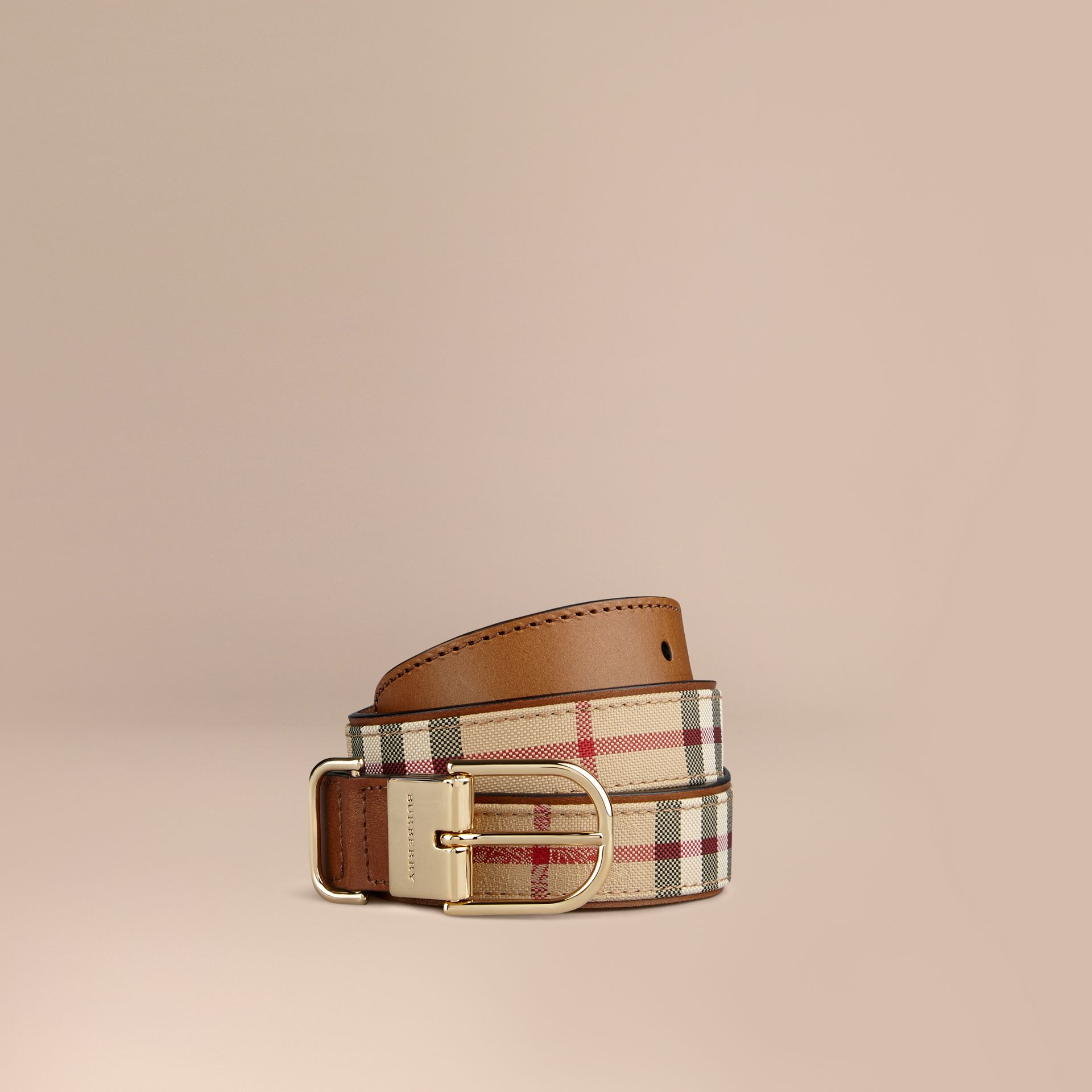 Horseferry Check and Leather Belt in Honey/tan - gallery image 1