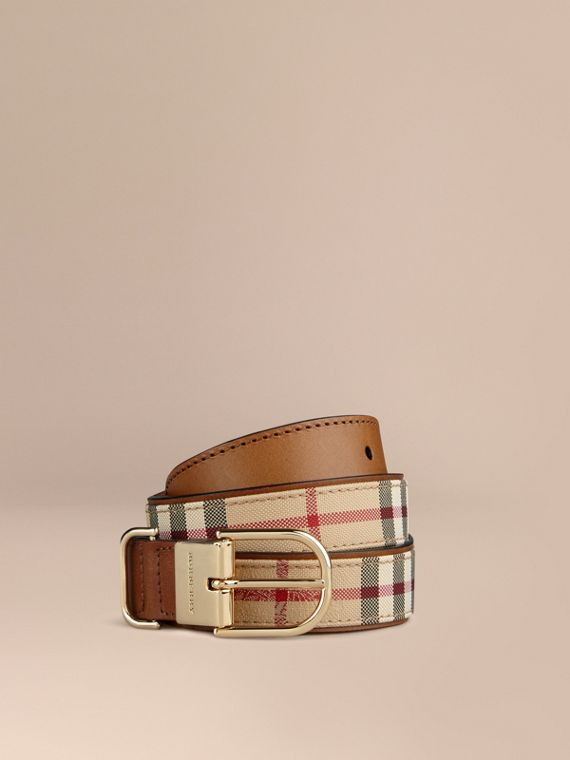 Horseferry Check and Leather Belt Honey/tan