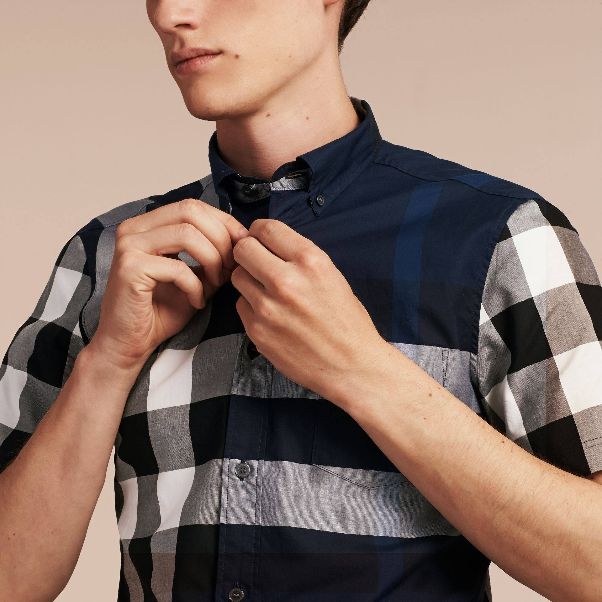 Indigo blue Short-sleeved Check Cotton Shirt Indigo Blue - gallery image 5