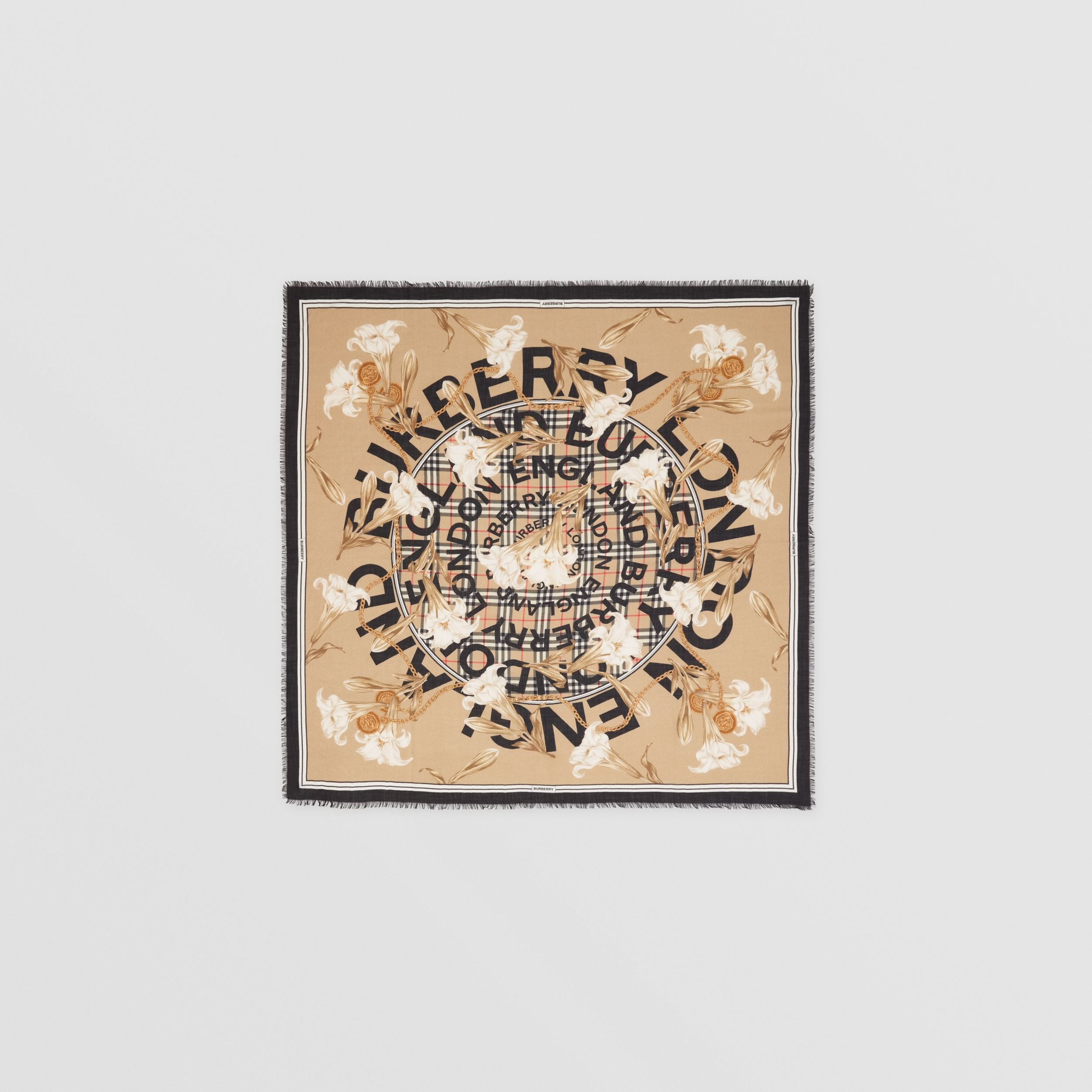 Archive Scarf Print Cashmere Large Square Scarf in Beige | Burberry - 1