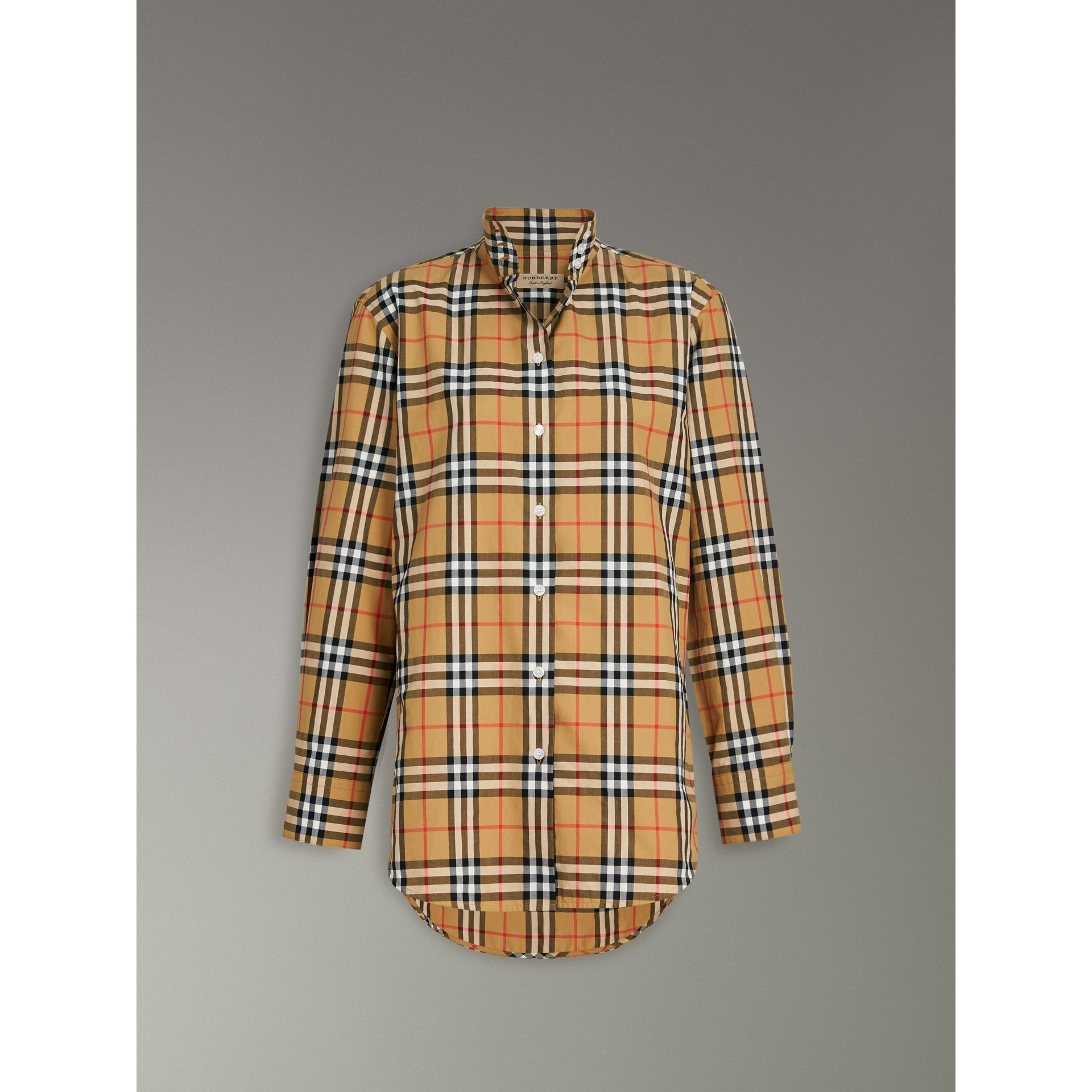 Stand Collar Vintage Check Cotton Shirt in Antique Yellow - Women | Burberry - gallery image 3