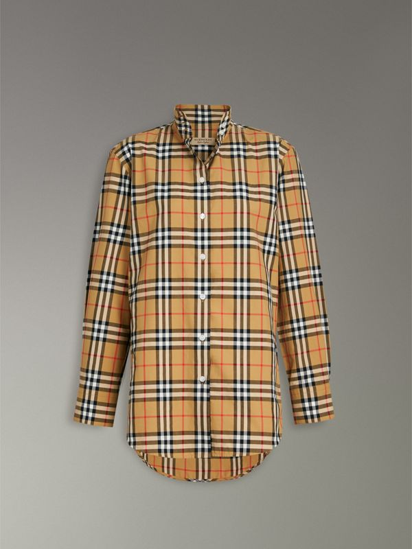 Stand Collar Vintage Check Cotton Shirt in Antique Yellow - Women | Burberry - cell image 3