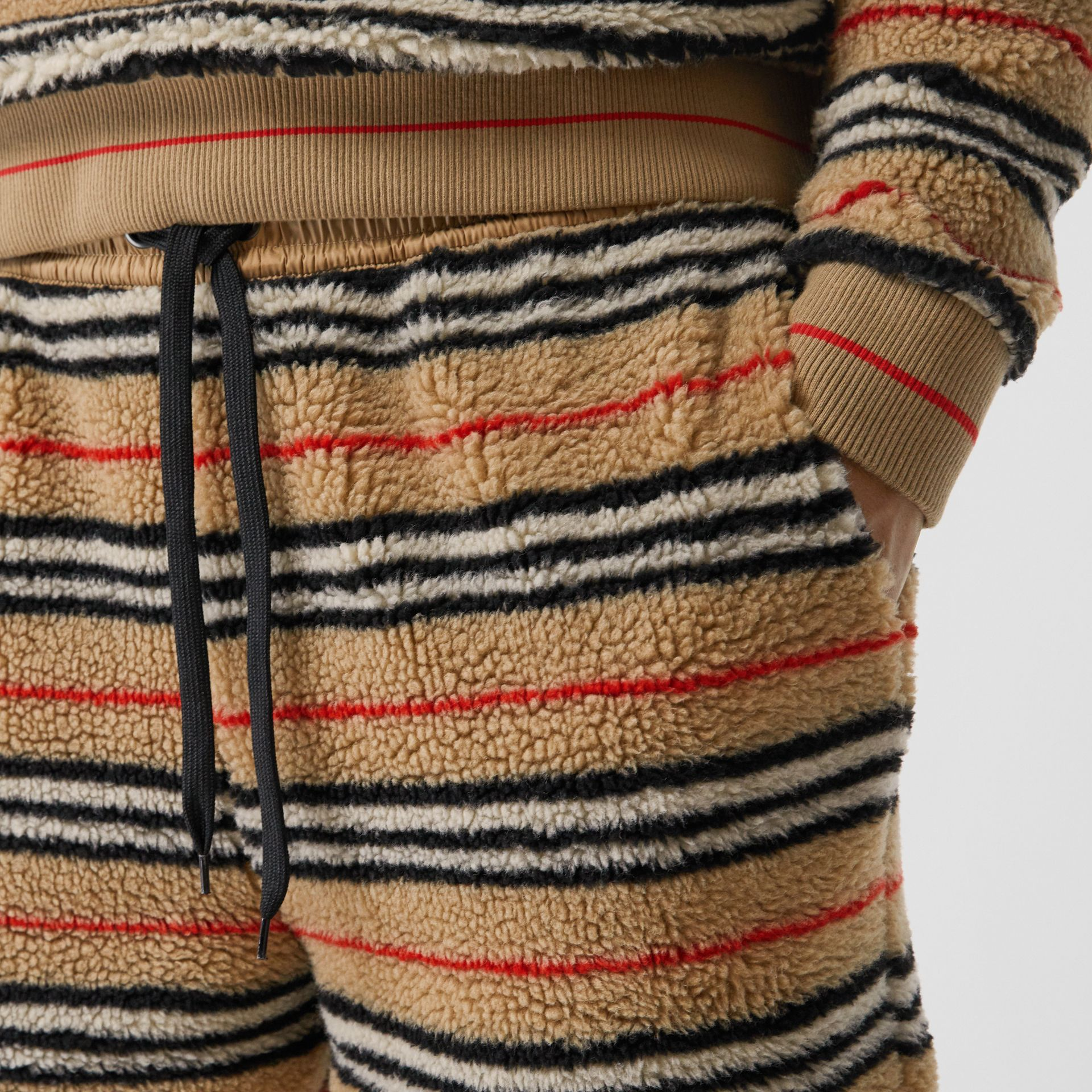 Icon Stripe Fleece Drawcord Shorts in Archive Beige - Men | Burberry - gallery image 1