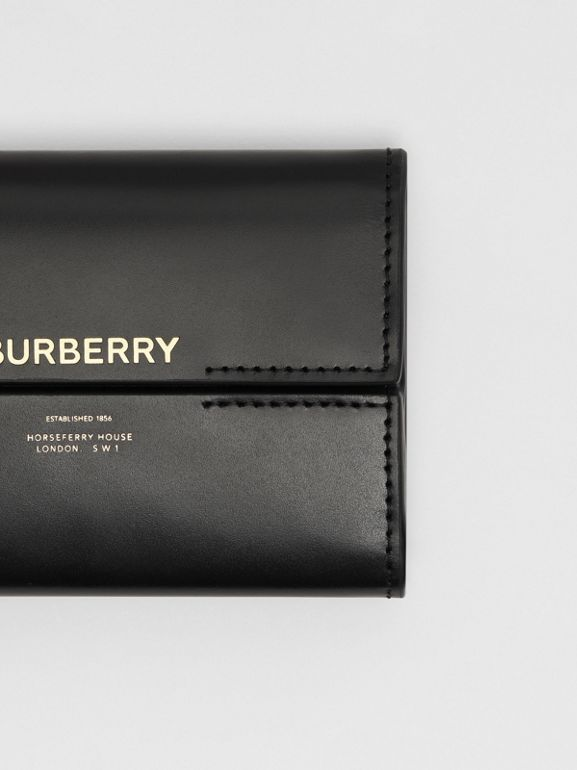 Horseferry Print Leather Folding Wallet in Black - Women | Burberry - cell image 1