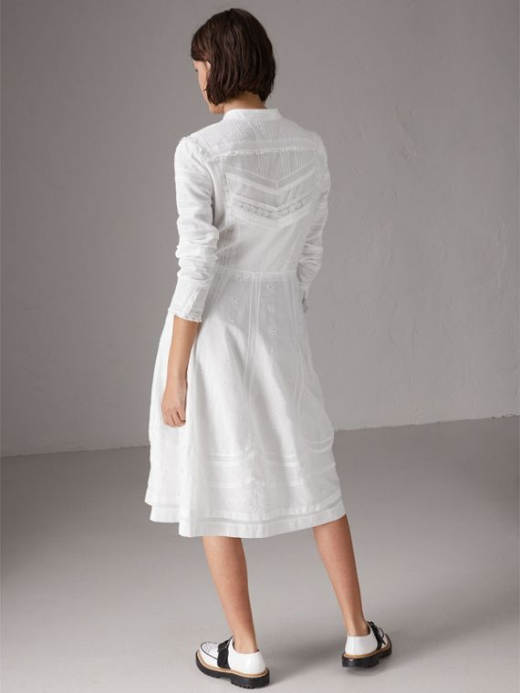 English Lace Detail Cotton Voile Shirt Dress in Off White - Women | Burberry - cell image 2