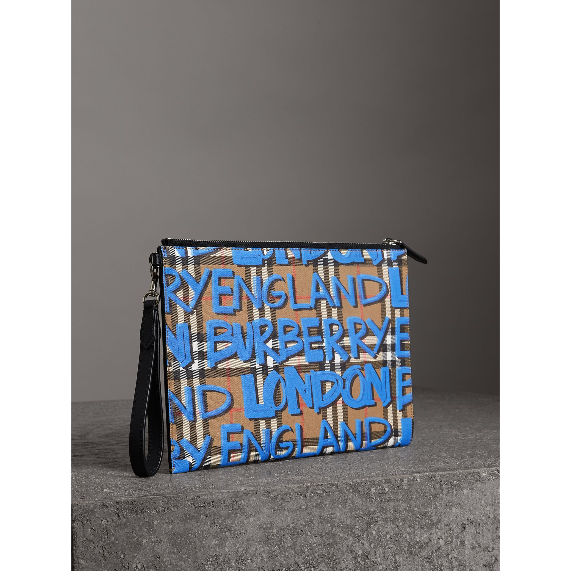 Graffiti Print Vintage Check Leather Zip Pouch in Canvas Blue/antique Yellow | Burberry Australia - gallery image 4