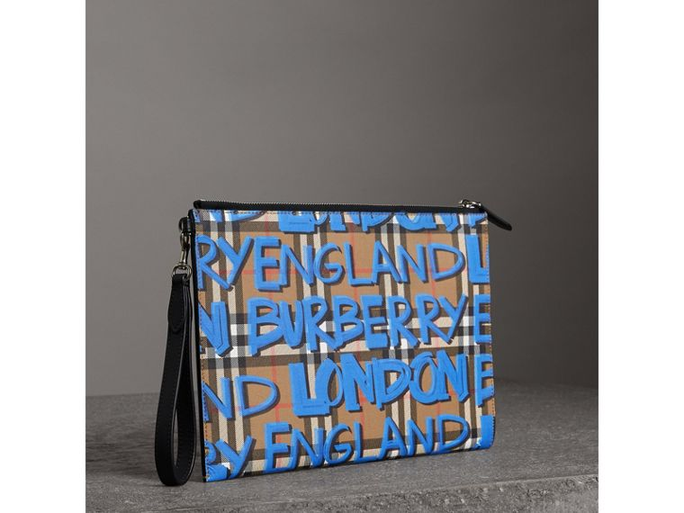 Graffiti Print Vintage Check Leather Zip Pouch in Canvas Blue/antique Yellow | Burberry - cell image 4