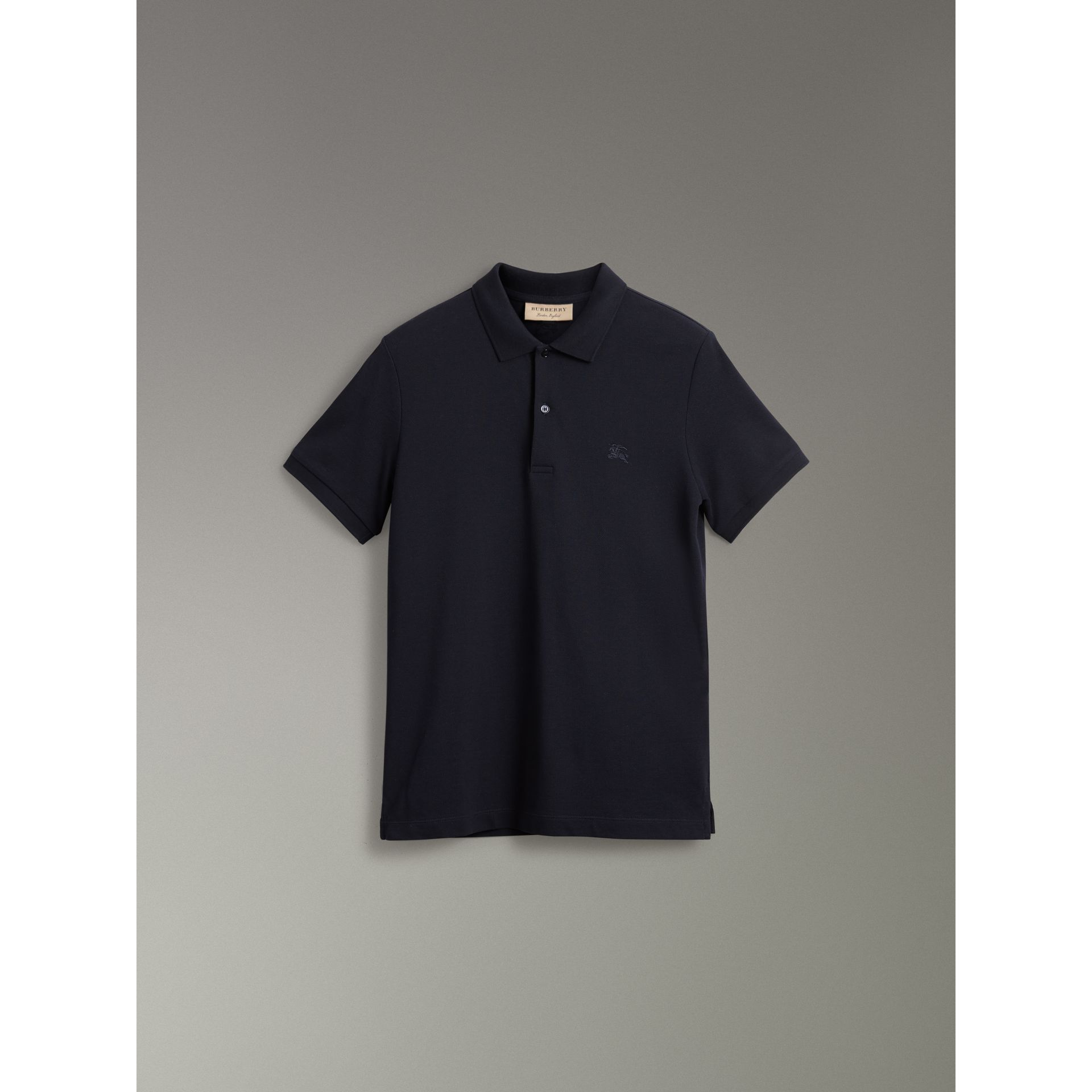 Tartan Trim Cotton Piqué Polo Shirt in Dark Navy - Men | Burberry - gallery image 3
