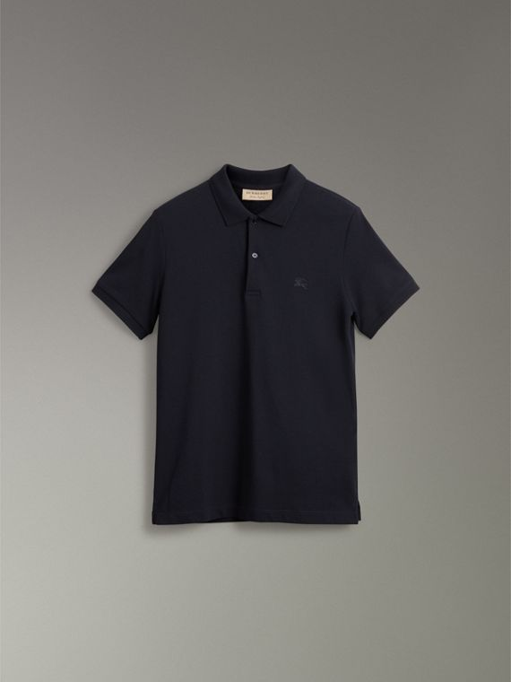 Tartan Trim Cotton Piqué Polo Shirt in Dark Navy - Men | Burberry Canada - cell image 3