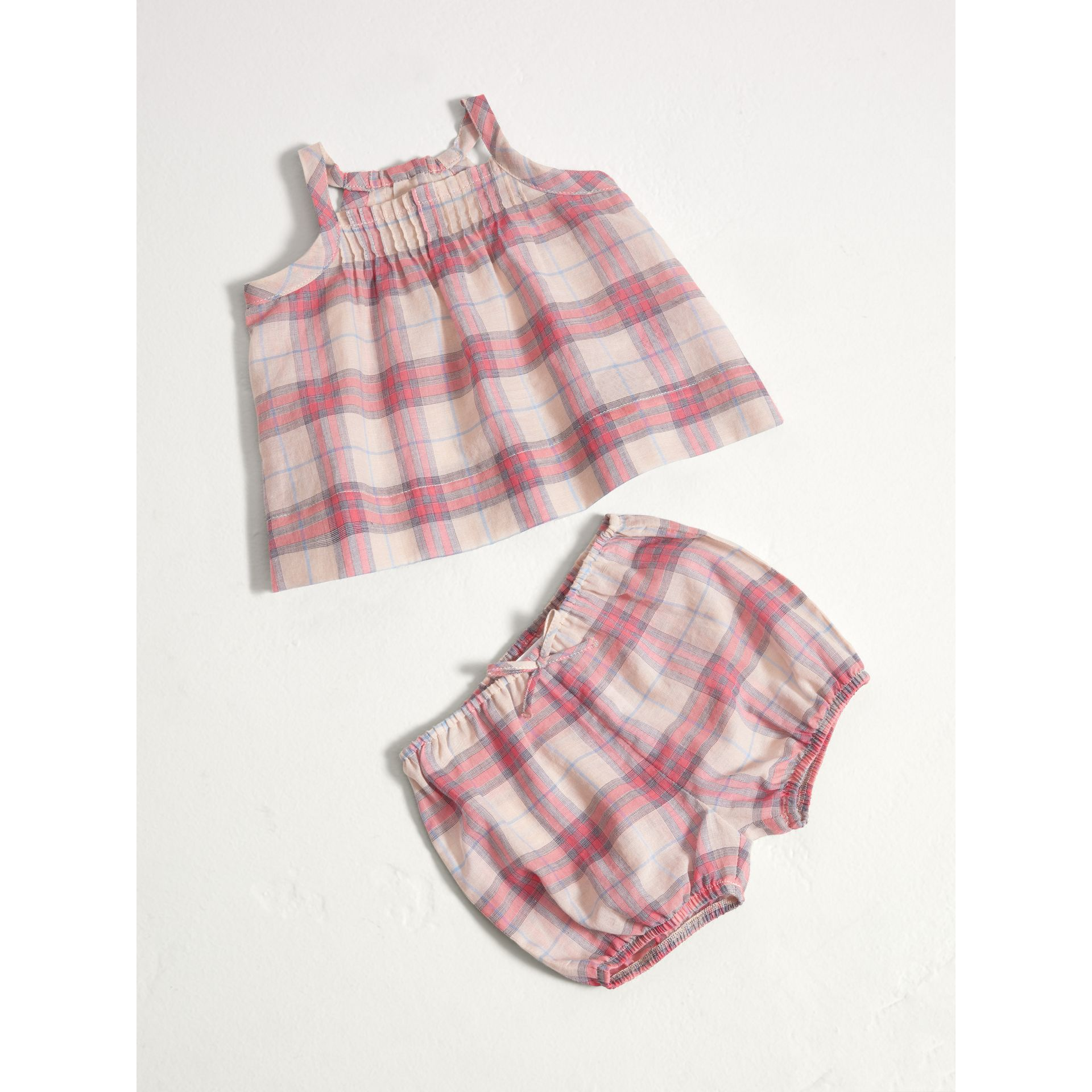 Check Cotton Two-piece Baby Gift Set in Bright Coral Pink | Burberry Singapore - gallery image 0