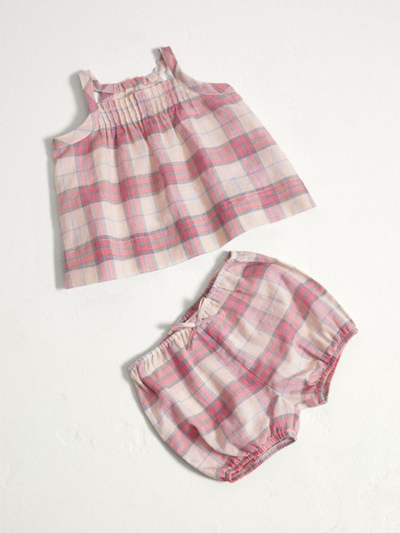 Check Cotton Two-piece Baby Gift Set in Bright Coral Pink
