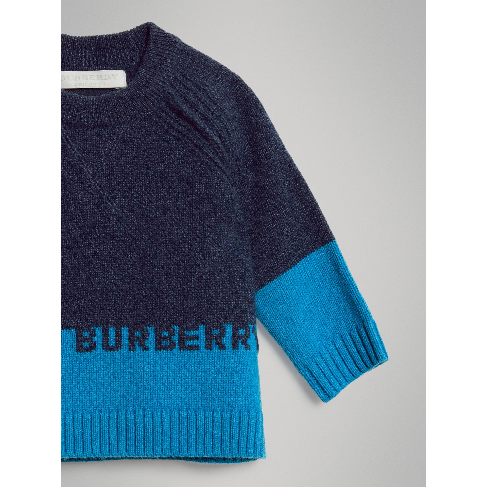 Logo Intarsia Cashmere Sweater in Navy - Children | Burberry Australia - gallery image 4
