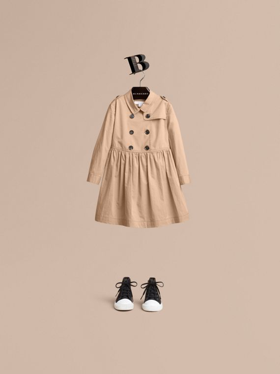 Check Detail Stretch Cotton Trench Dress in Honey