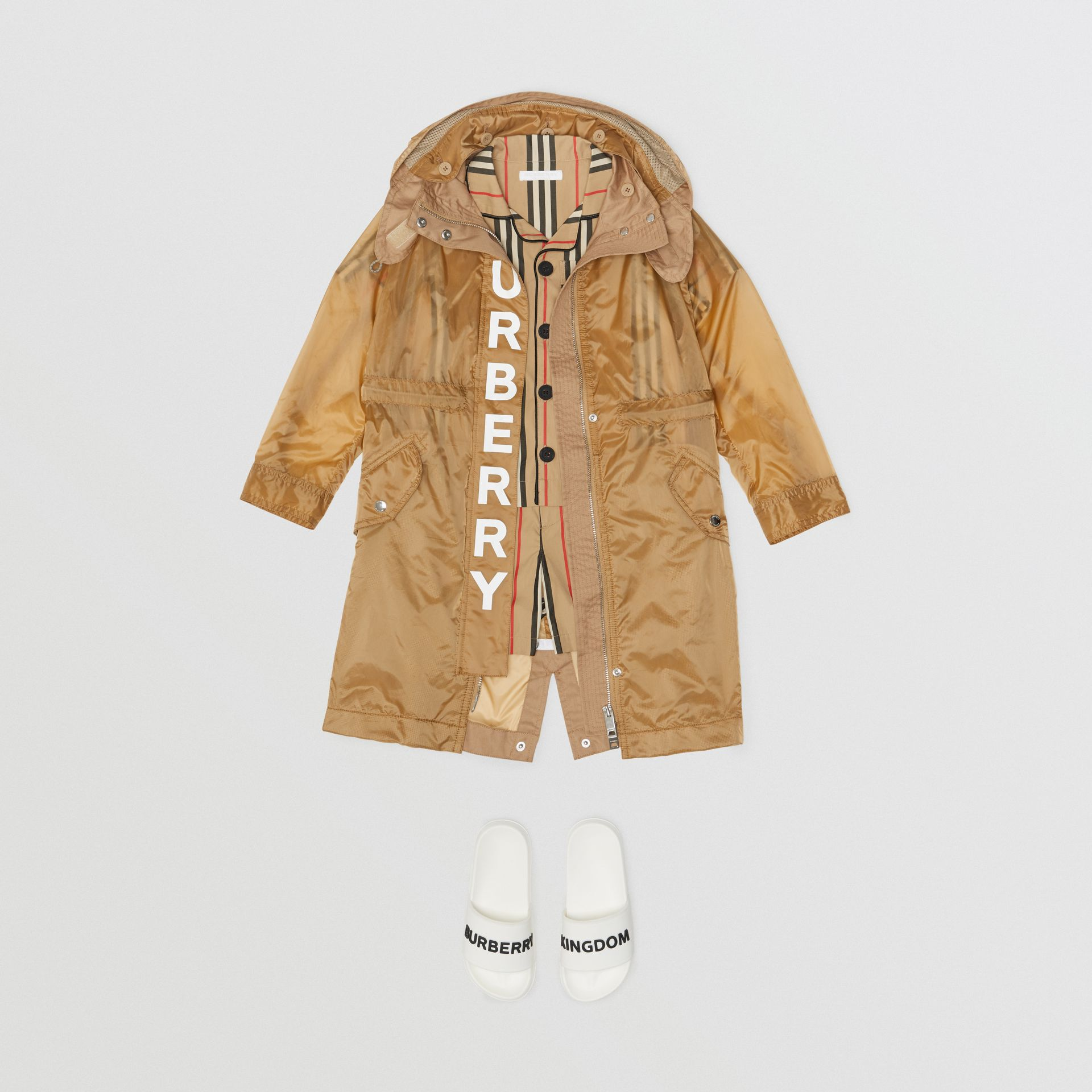 Detachable Hood Logo Print Lightweight Parka in Honey | Burberry - gallery image 3