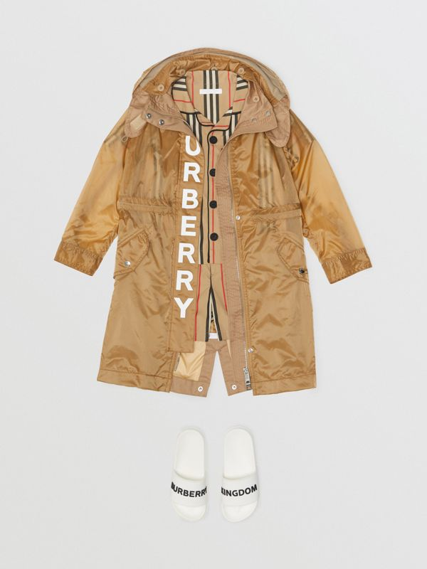 Detachable Hood Logo Print Lightweight Parka in Honey | Burberry - cell image 3