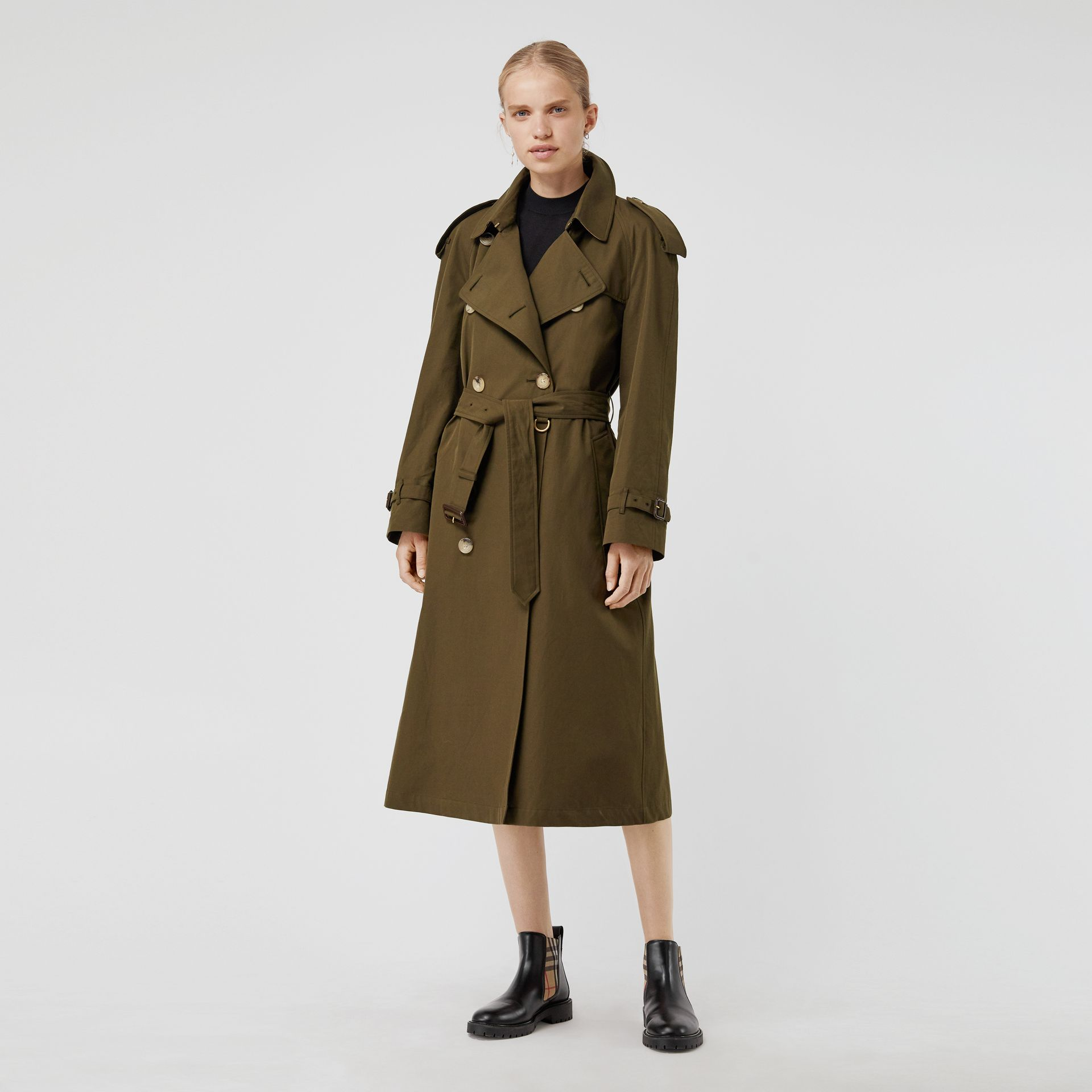 The Westminster – Trench Heritage long (Kaki Militaire Foncé) - Femme | Burberry Canada - photo de la galerie 0