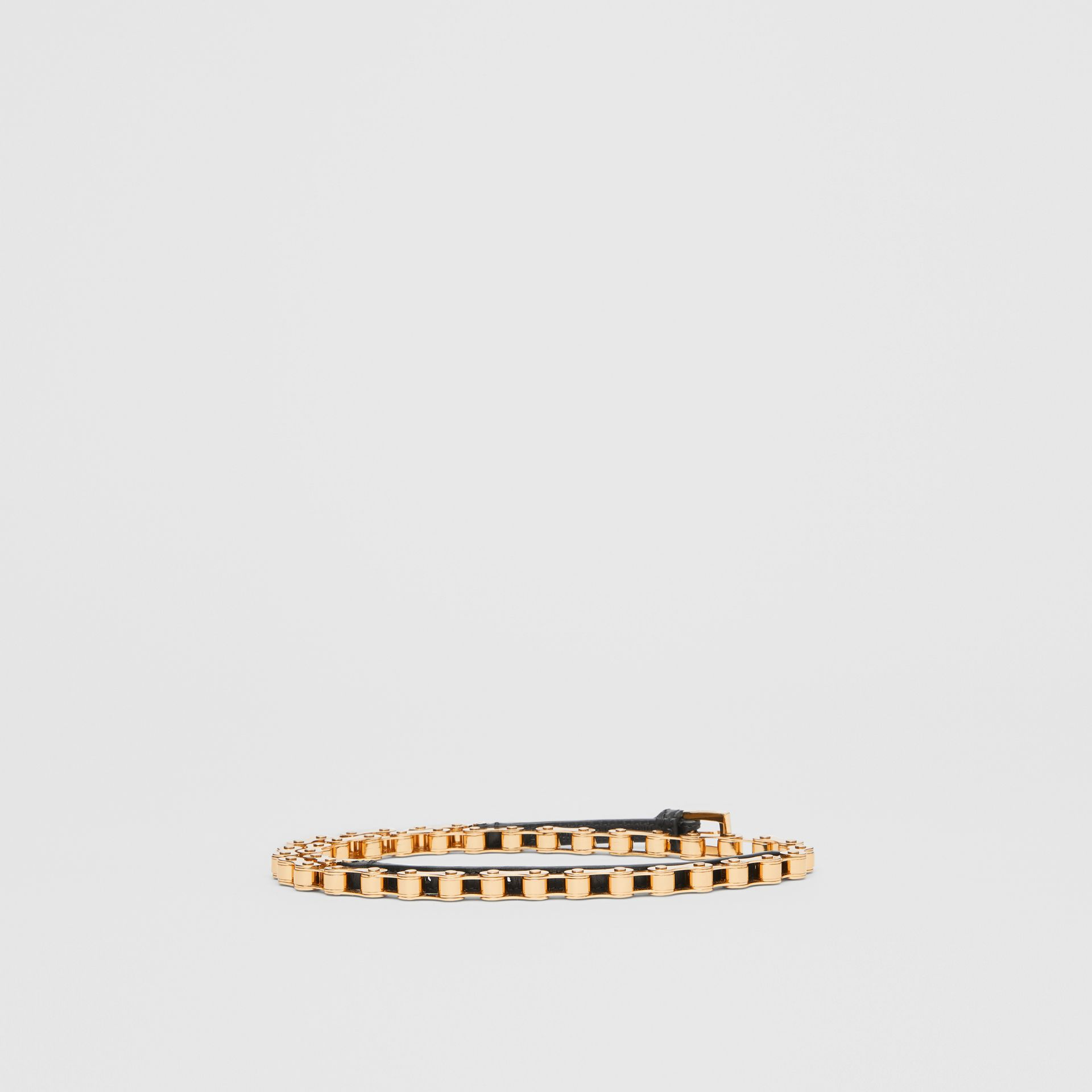 Leather and Bicycle Chain Belt in Black - Women | Burberry - gallery image 3