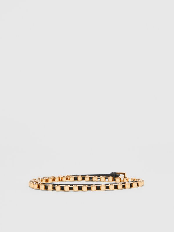 Leather and Bicycle Chain Belt in Black - Women | Burberry - cell image 3