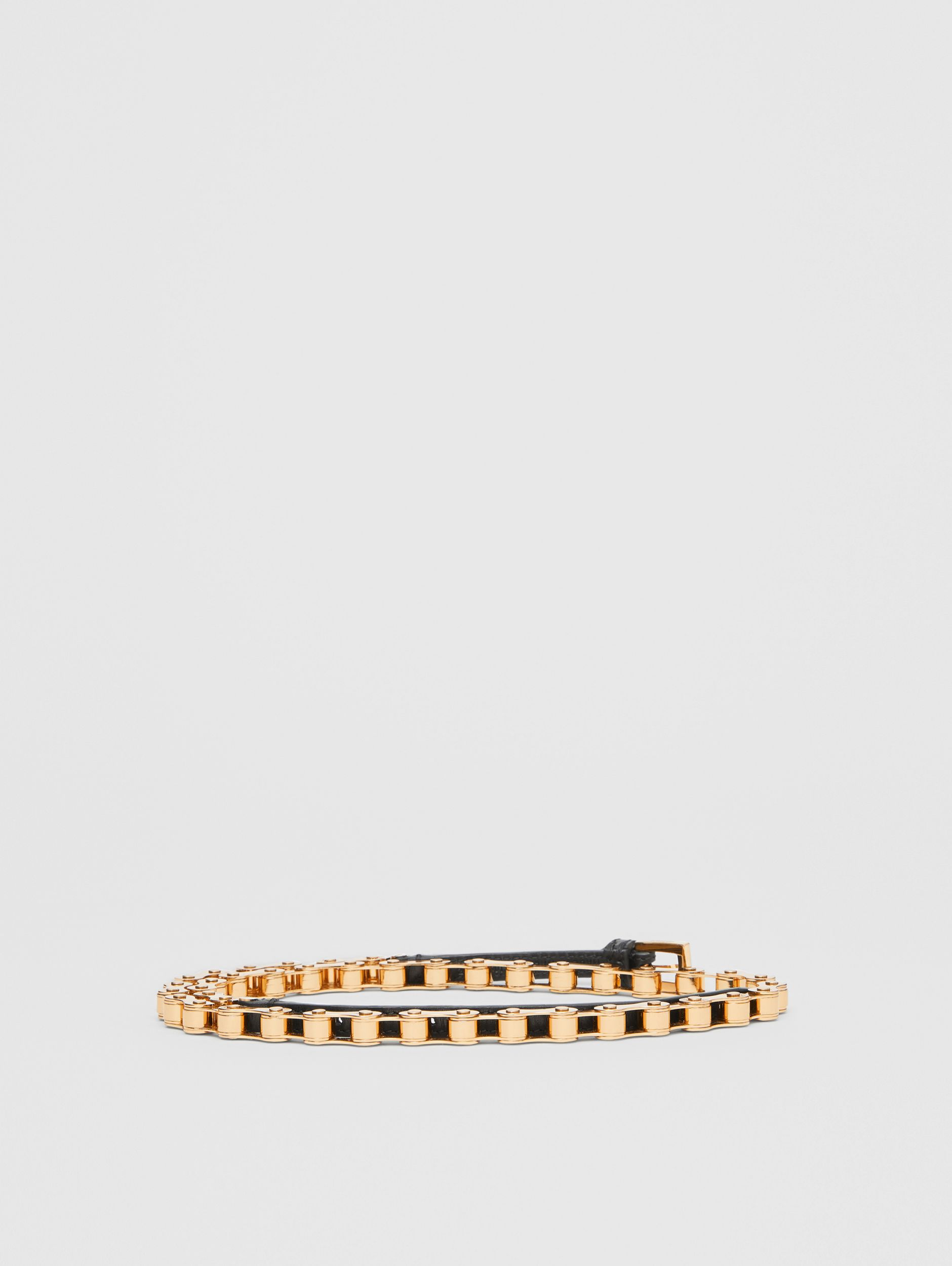 Leather and Bicycle Chain Belt in Black - Women | Burberry - 4