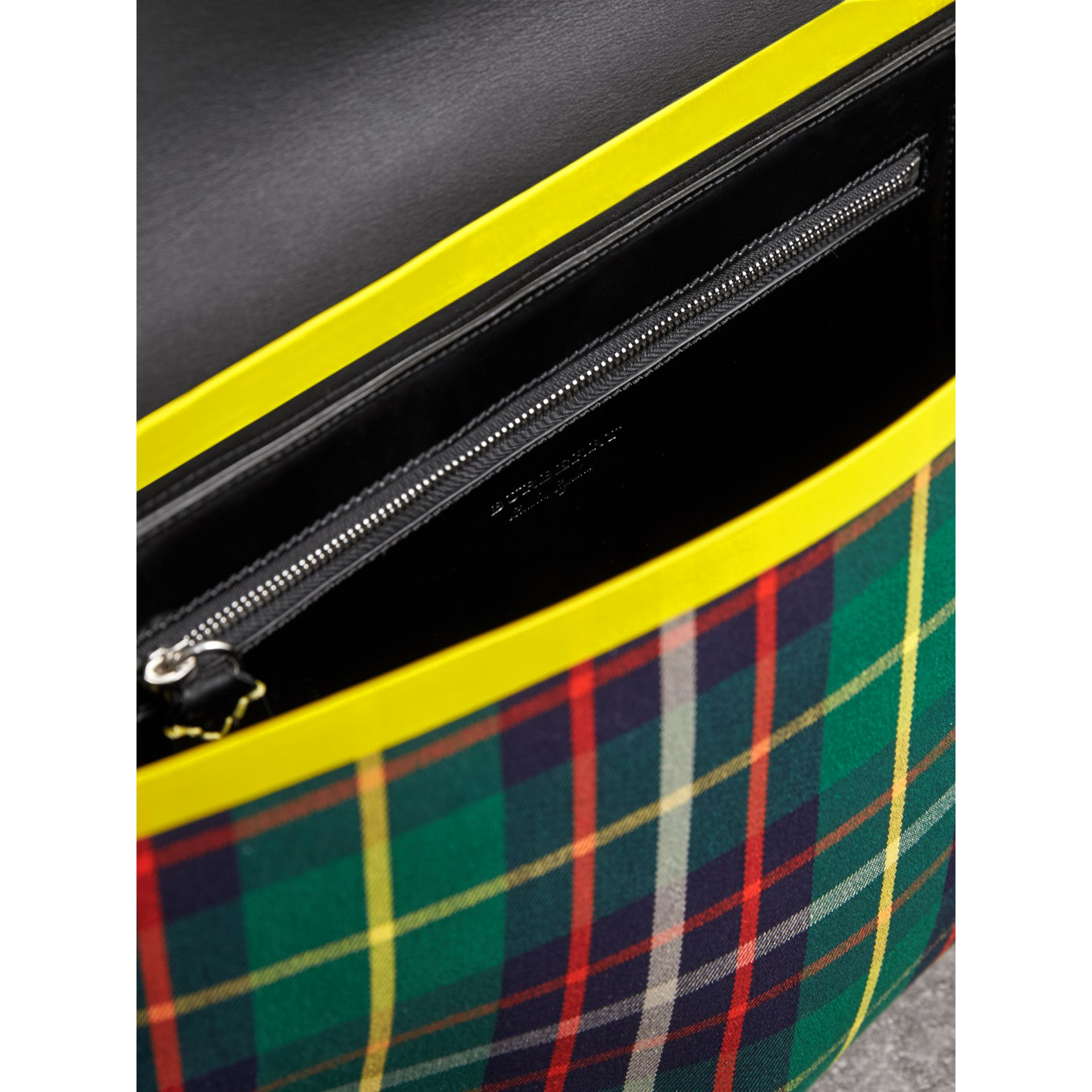 Large Tartan Cotton Messenger Bag in Forest Green | Burberry - gallery image 4
