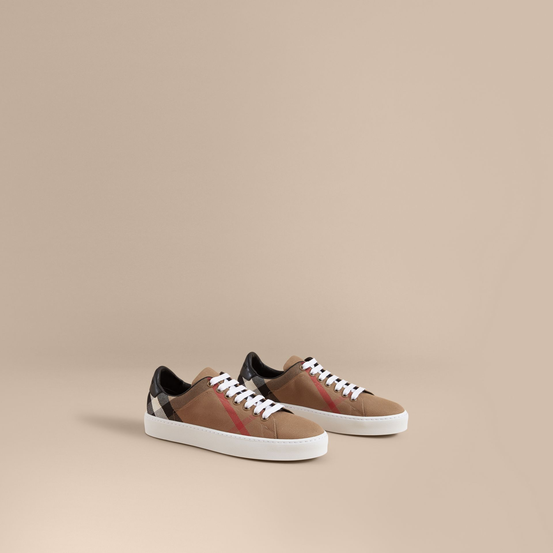 House Check and Leather Trainers in Classic - Women | Burberry Singapore - gallery image 1