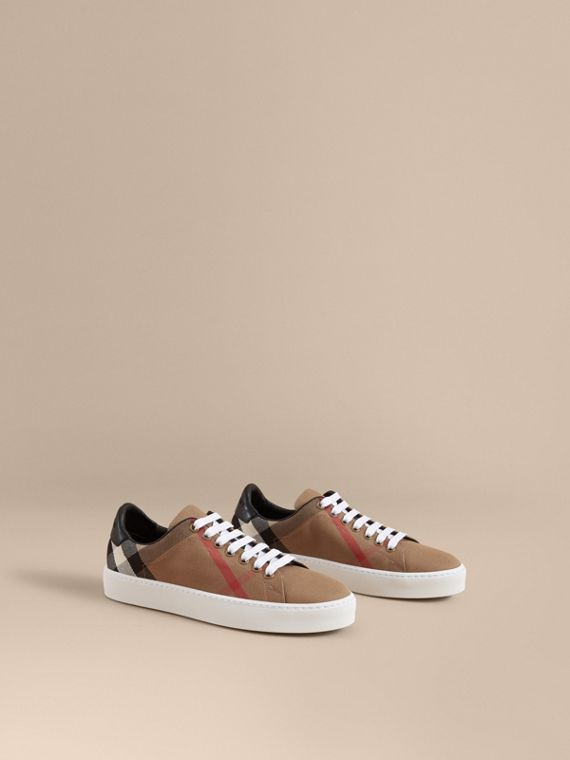 House Check and Leather Trainers - Women | Burberry Australia